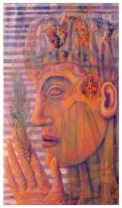 MIRANDO LA PLUMA  collage mixta y oleo sobre madera 61,5 x 5,5-cm 2013