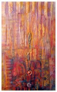 2013.LA LLAVE DEL ABISMO definitivop polvo de marmol, pigmentos, collage, incisiones, oleo s madera 73 x 45 cm