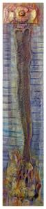 2014.SUEÑO-CON-SERPIENTES...-(pequeño)-89-x-19-cm.-Polvo-de-marmol,-pigmento,-collage,-pan-de-oro-y-óleo-sobre-collage-y-madera.-
